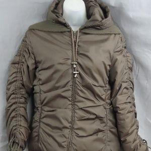 Brown Zara Zippered Puffer Jacket with Hood